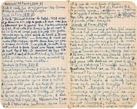 Carnet de Riom, mars 1941. Archives nationales, 667 AP 120, dossier 1.